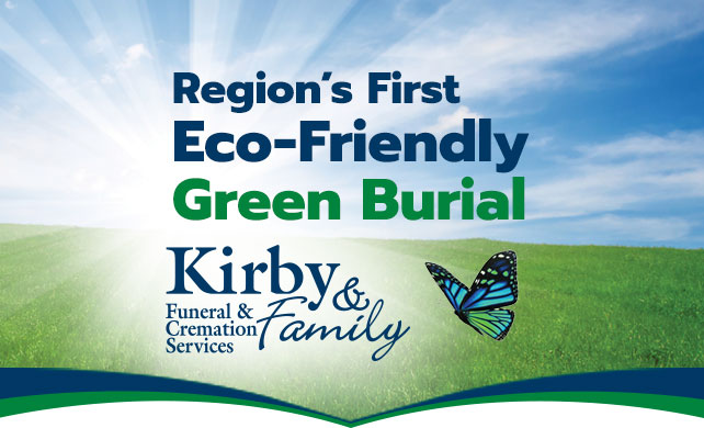 Green Grass and Blue Skies background with Region's First Eco-Friendly Green Burial text overlay