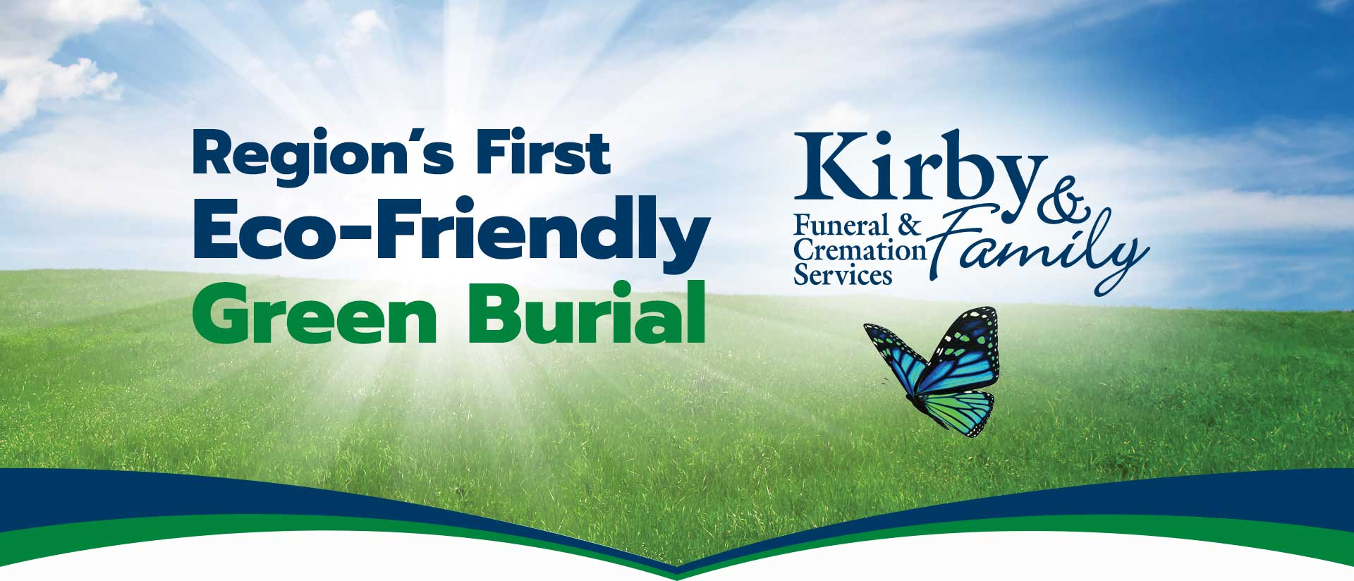 Kirby Funeral and Cremation Services Logo in front of Green Grass and Blue Skies